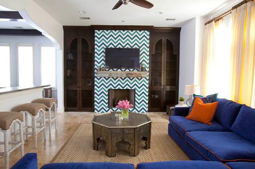 Salon moderne mêlant style oriental et contemporain