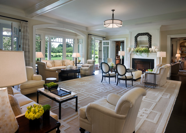 Example Of A Huge Ornate Living Room Design In New York With Beige Walls  And A