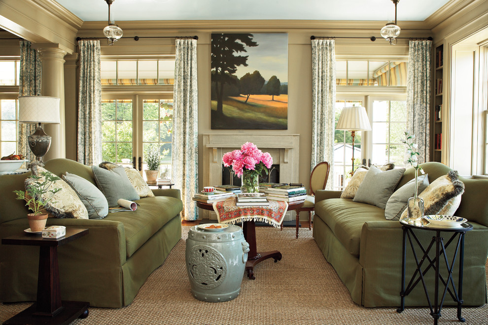 Mid-sized french country formal living room photo in Atlanta with beige walls, a standard fireplace and a stone fireplace