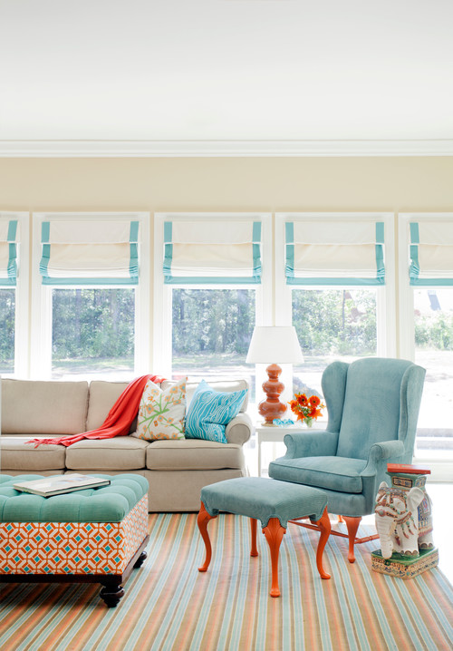 Orange And Aqua: Town & Country Living