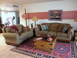 Southwestern Hacienda Style Townhouse - Southwestern - Living Room - phoenix
