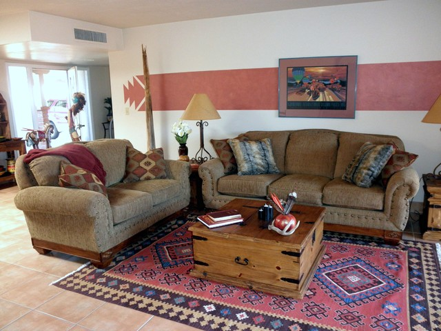Southwestern Hacienda Style Townhouse American Southwest Living Room