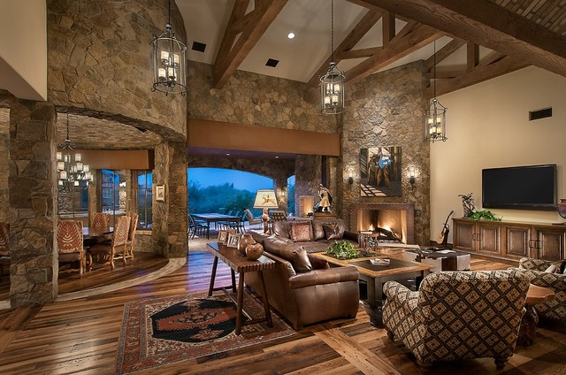 Southwestern Ranch Traditional Living Room Phoenix on rustic home floor plans