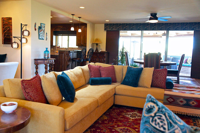 southwestern style carefree home rustic living room