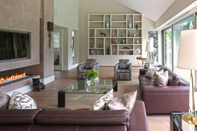 Example Of A Trendy Open Concept Medium Tone Wood Floor Living Room Design  In London With