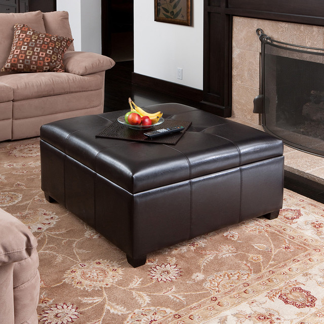 Spacious Espresso Leather Storage Ottoman Coffee Table W Tufted Top - Leather Ottomans Coffee Tables