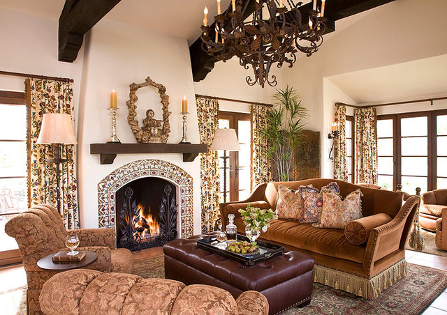 Spanish Colonial Mediterranean Living Room Orange County By