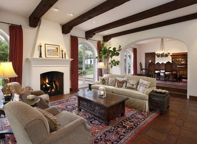 Spanish colonial traditional living room santa for Living room in spanish