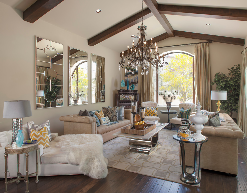 Example of a transitional living room design in Phoenix