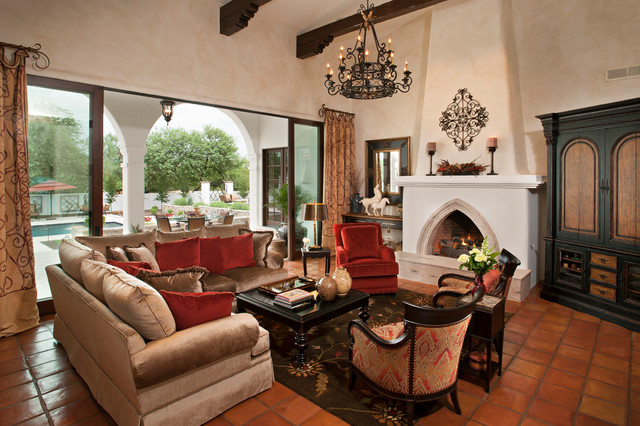 Spanish Colonial Remodel Mediterranean Living Room