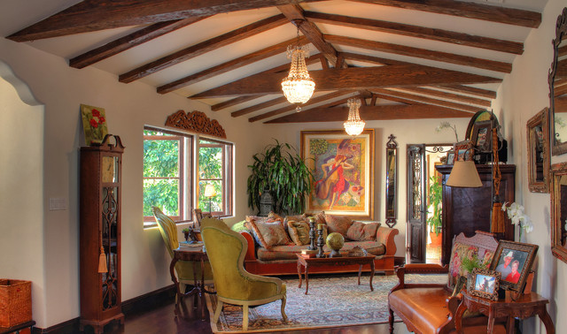 Spanish colonial revival traditional living room los angeles by pritzkat johnson for Spanish colonial revival living room
