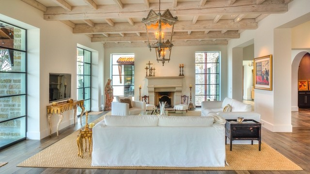 Spanish colonial revival southwestern living room austin by steve richmond fine homes for Spanish colonial revival living room