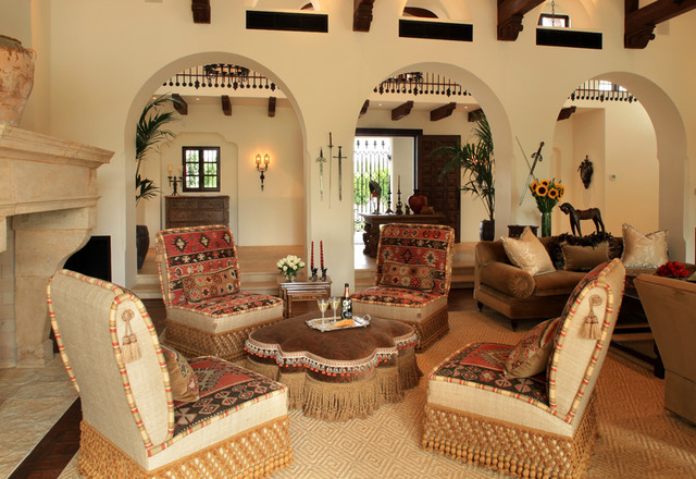 Spanish Living Room Design. Spanish Colonial traditional living room