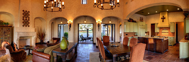 Spanish Hacienda Mediterranean Living Room Austin