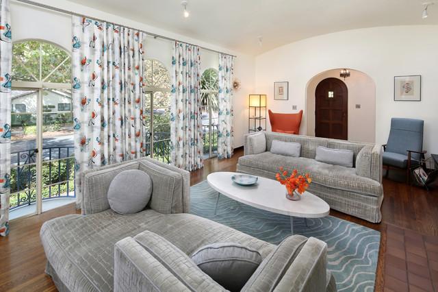 Spanish + Mid-century Modern midcentury-living-room