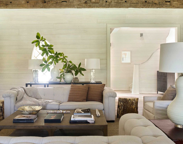Living room - beach style enclosed living room idea in Other