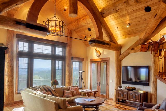 Spanish Peaks Residence rustic-living-room