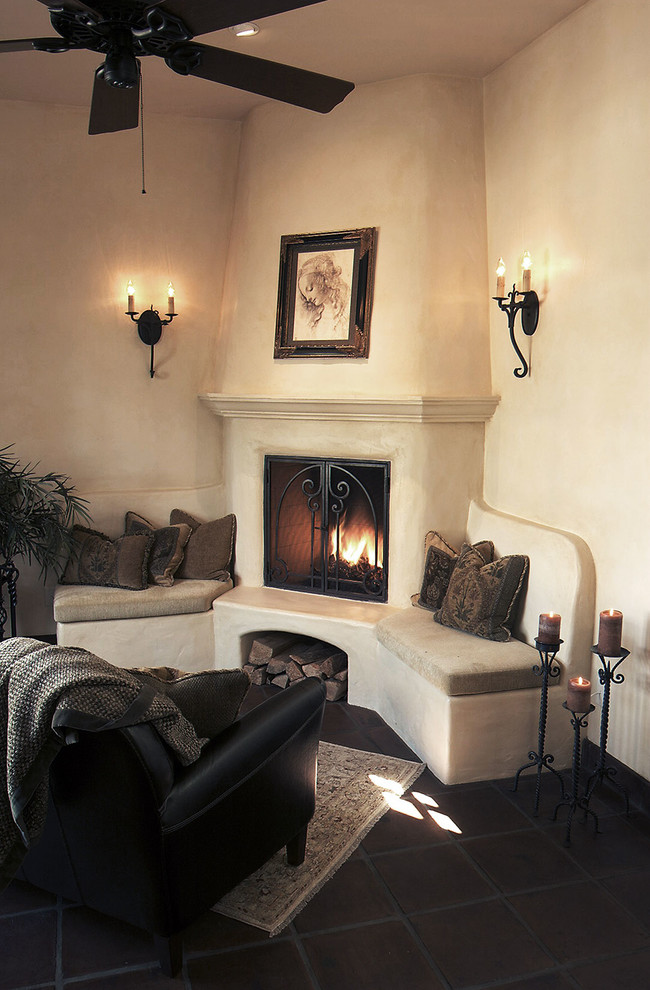 Spanish Plaster Fireplace - Mediterranean - Living Room ...