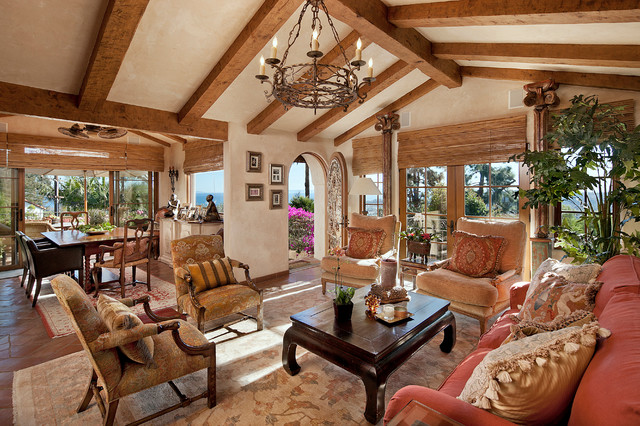 Spanish Revival Residence Mediterranean Living Room