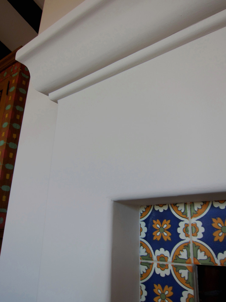Fireplace Mantel With Decorative Tile