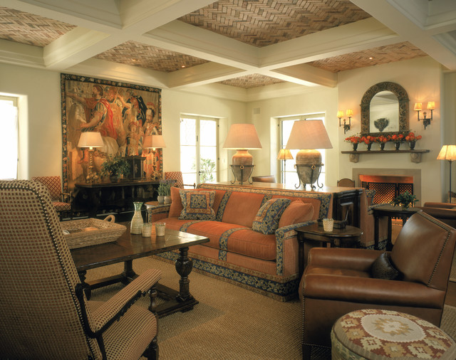Spanish Style Great Room Mediterranean Living Room