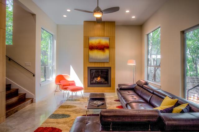 Spec Home B Interior Staging For Amick Associates Austin Texas Modern Living Room
