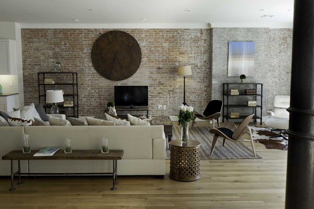 spice warehouse tribeca loft living room industrial living room new york by marie burgos. Black Bedroom Furniture Sets. Home Design Ideas