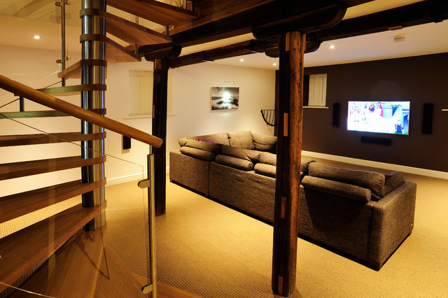 Spiral Staircase Cambridgeshire Modern Living Room Other Metro
