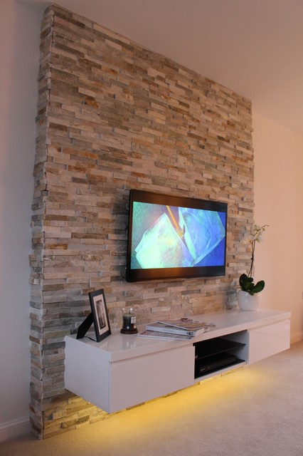 Tiles Design For Living Room Wall: Split Face Feature TV Wall