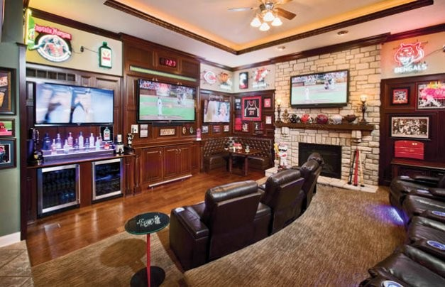 Sports Bar Scores Big Traditional Living Room