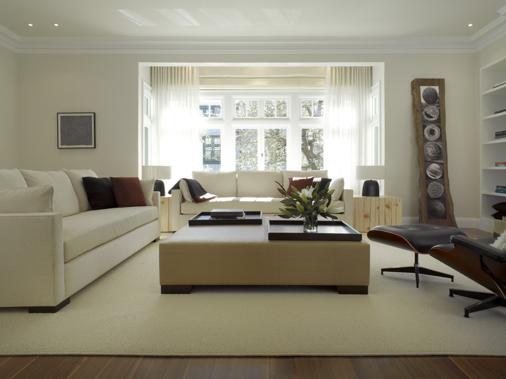 Living room - large contemporary living room idea in San Francisco with beige walls