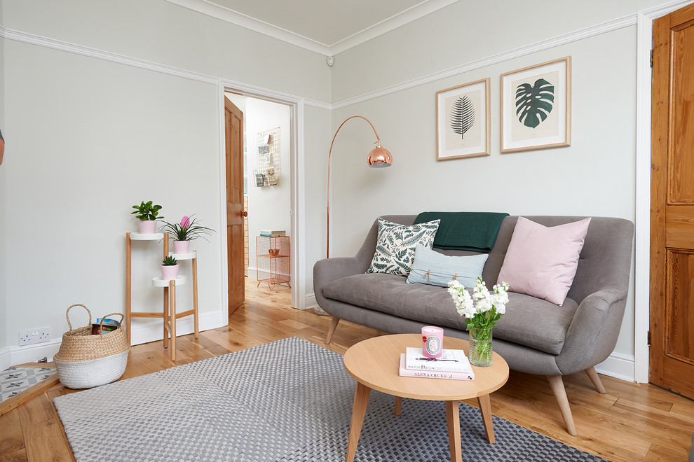 Inspiration for a small scandinavian enclosed light wood floor and brown floor living room remodel in Hertfordshire with gray walls