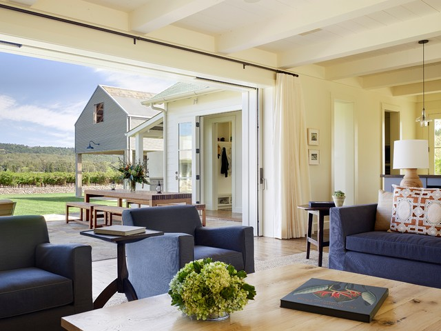 Living Room   Farmhouse Living Room Idea In San Francisco With White Walls