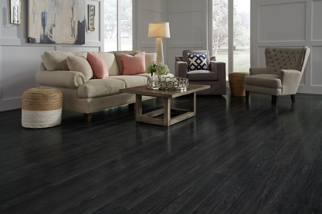 St. James Collection By Dream Home   12mm Rock Creek Charcoal Laminate  Flooring Contemporary