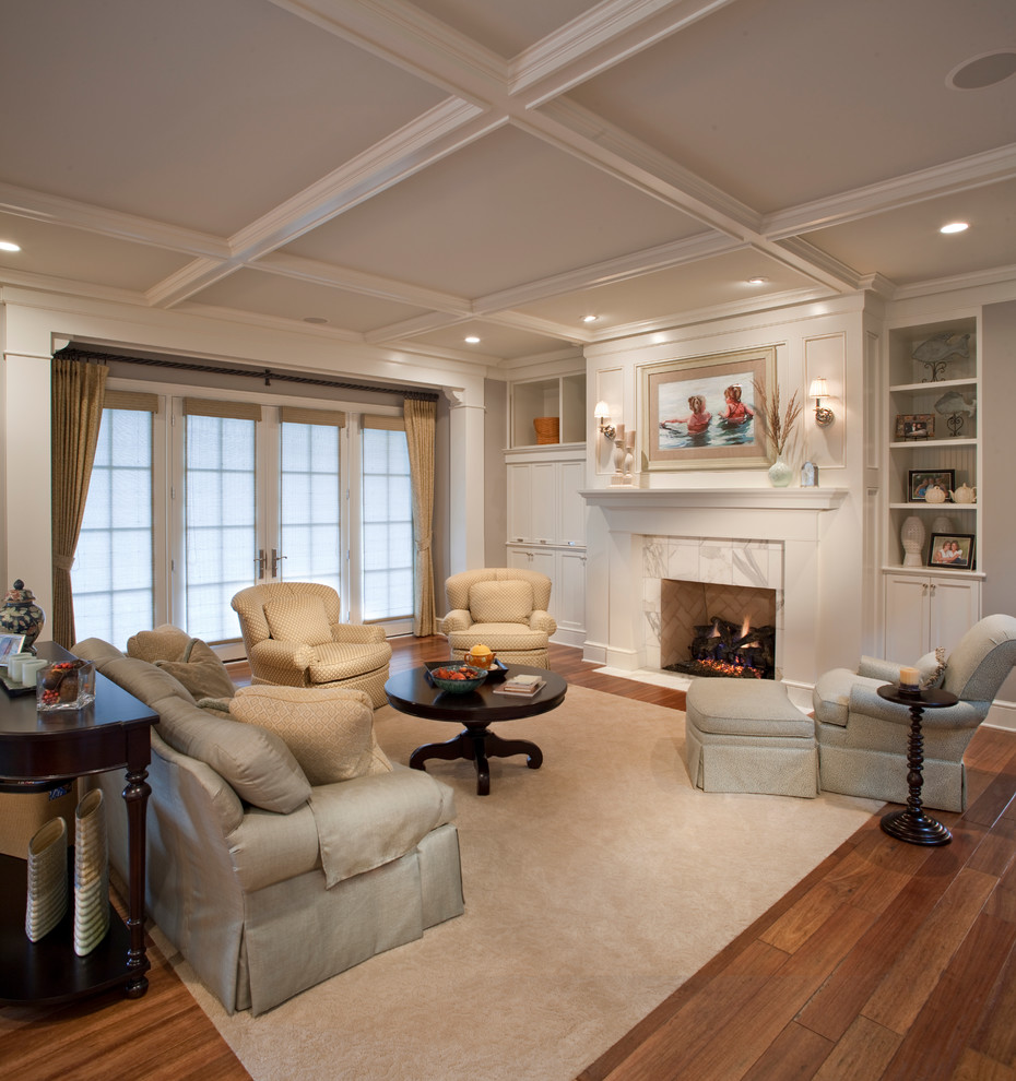 Living room - coastal formal and open concept medium tone wood floor living room idea in Grand Rapids with white walls, a standard fireplace and a tile fireplace