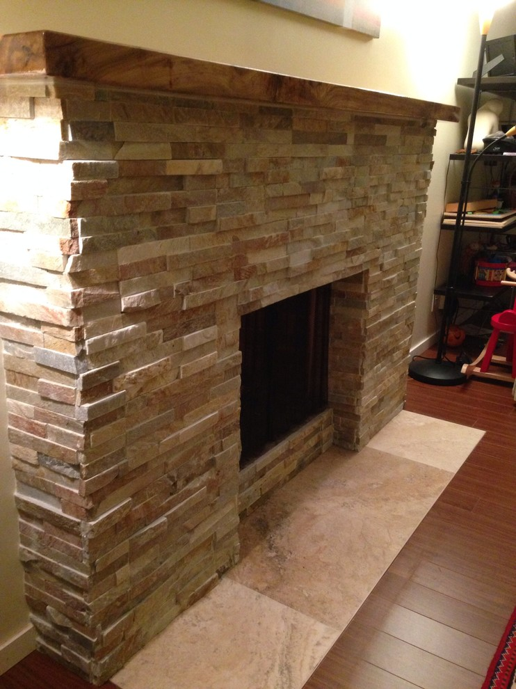 Stack Stone Fireplace Remodel Modern, How To Reface A Brick Fireplace With Stacked Stone