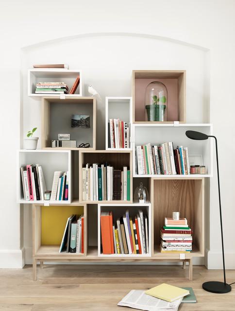 Stacked shelf system scandinavian-living-room