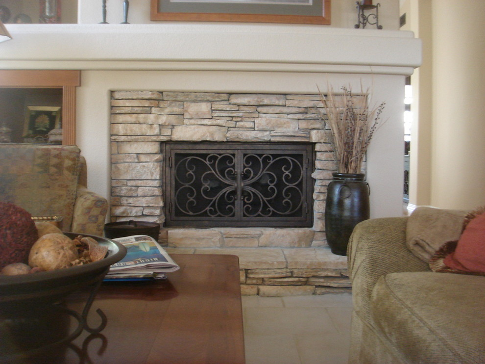 Stacked Stone Fireplace Traditional Living Room San Diego