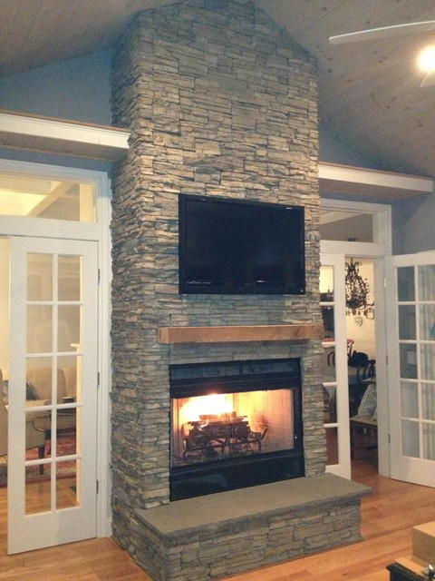 Stacked Stone Fireplace : beach style living room from www.houzz.com size 480 x 640 jpeg 87kB
