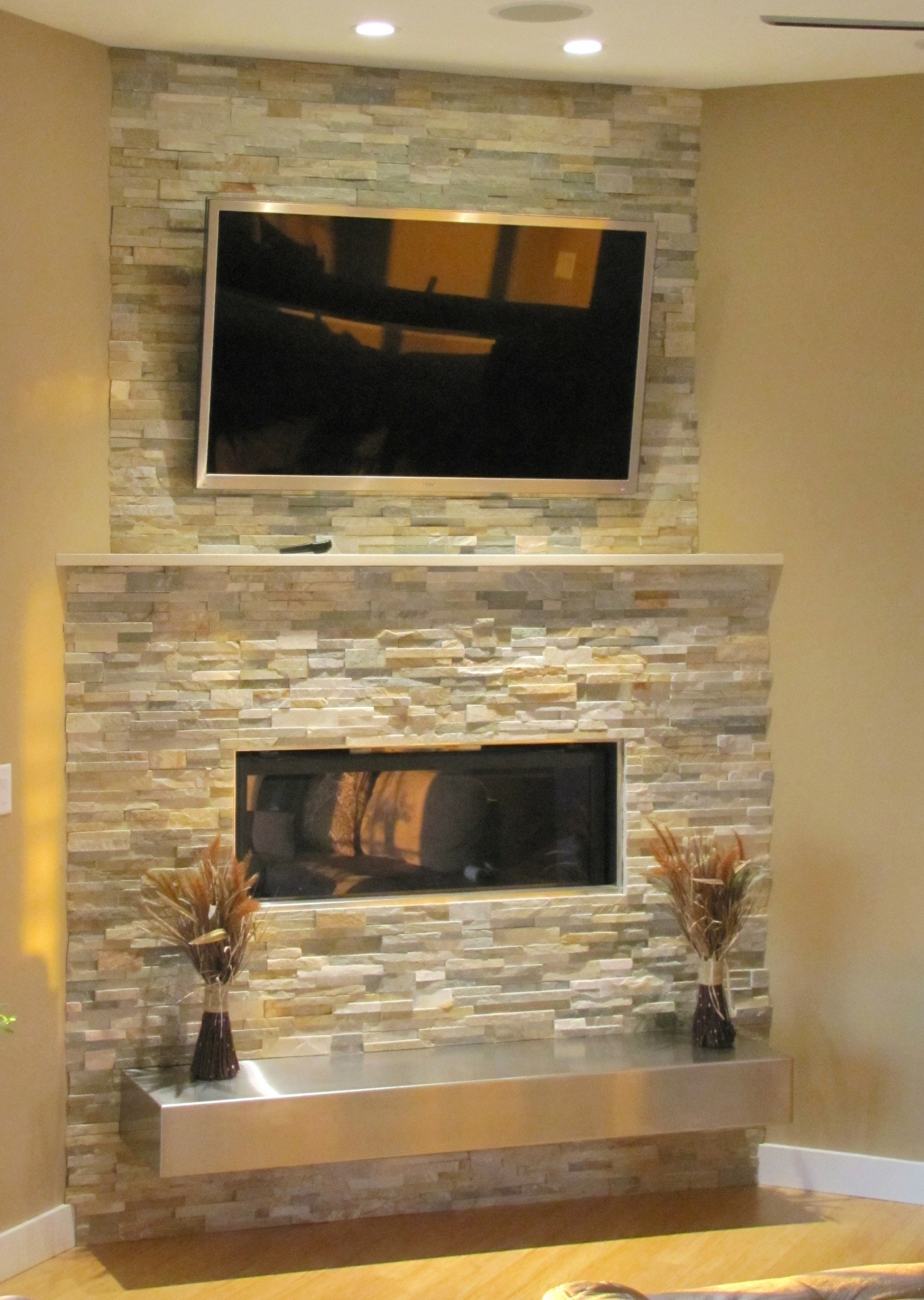 Stacked Stone Fireplace with floating hearth   Contemporary ...