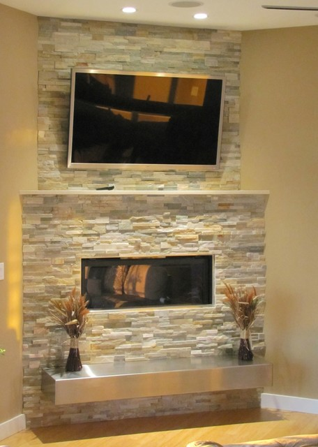 Stacked stone fireplace with floating hearth - Beautiful corner fireplace design ideas for your family time ...