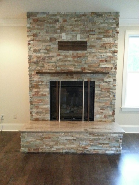 Stacked Stone Ledger Panel - Rustic - Living Room - Other ...