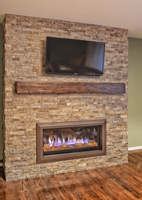 Stacked Stone Linear Fireplace Contemporary New York By Ember Fireplaces