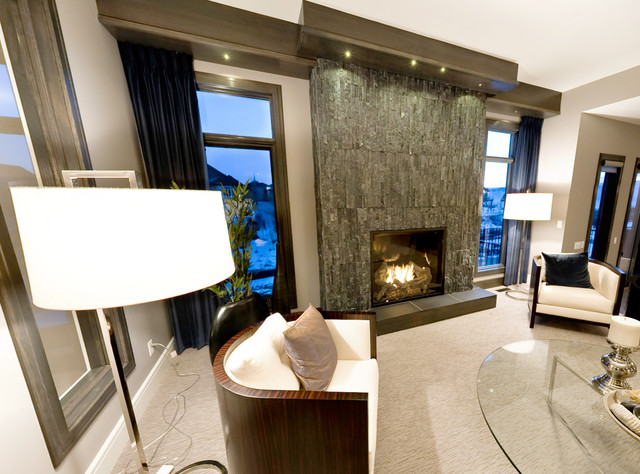 Stacked Stone Veneer Mid Century Modern Fireplace Living Room Toronto By