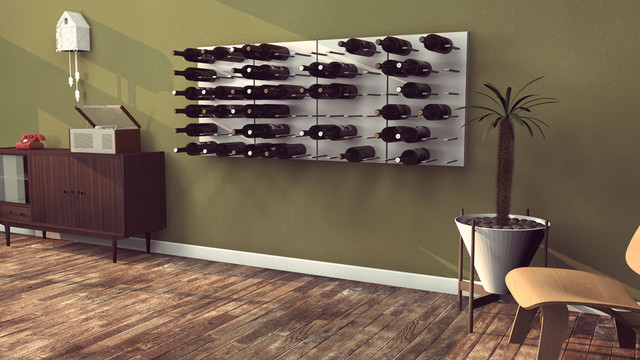 stact modular wallmounted wine rack system designed by eric pfeiffer