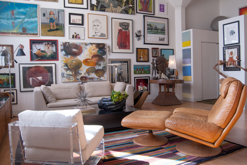 Eclectic living room photo in Other with white walls and no tv