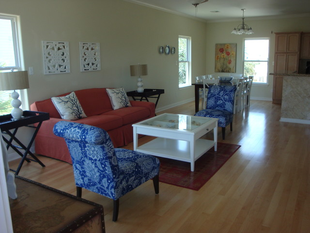 Staged Beach House beach-style-living-room
