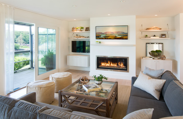 example of a coastal living room design in portland maine with white walls