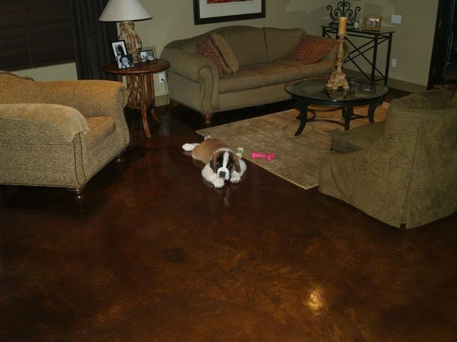 Stained Concrete Traditional Living Room Phoenix By Csw Concrete Steel Wood
