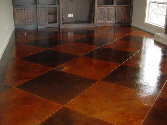 Stained concrete scored pattern - traditional - living room ...